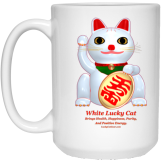 Have It All Red And Gold Lucky Cat 15oz White Mug Lucky Cat Gear