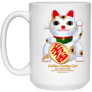 15oz White Lucky Cat Mugs